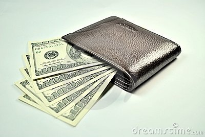 Brown Wallet and 100 Dollar US Bills