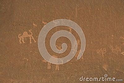 Wallpaitings in the Wadi Rum desert