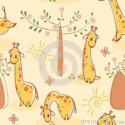 Wallpaper with giraffes