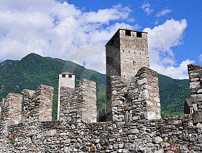 Walls of ancient castle, Bellinzona, Switzerland