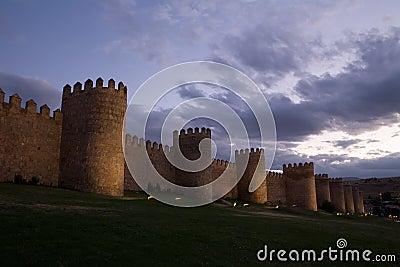 Walls of Avila at Dusk
