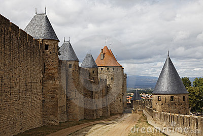 Walls in Carcassonne fortified town