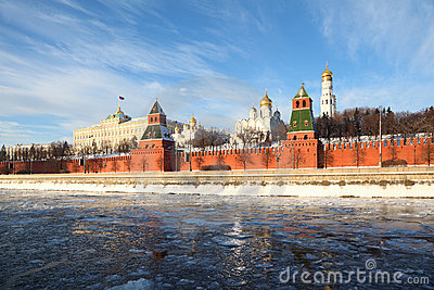 Walls of famous Kremlin and Ivan Great Bell Tower