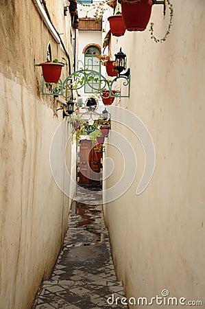 Walls of a narrow alley