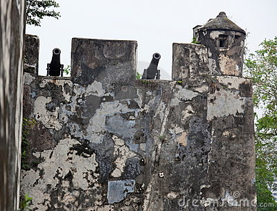 Walls and old canons. Monte fort. Macau. China.