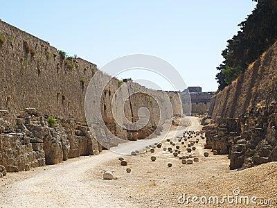 Between walls of old Rhodes