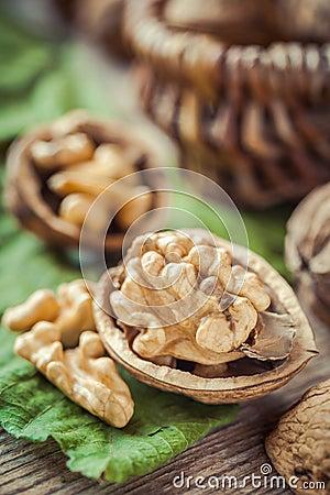 Free Walnut Close Up, Basket On Background Royalty Free Stock Photo - 46183945