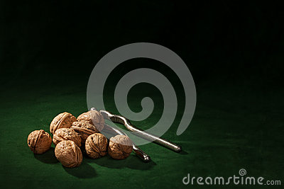 Walnut with nutcracker