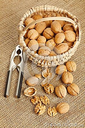 Free Walnuts In Basket Stock Photo - 19362050