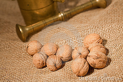 Walnuts laying on jute