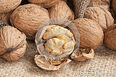 Walnuts on linen background,