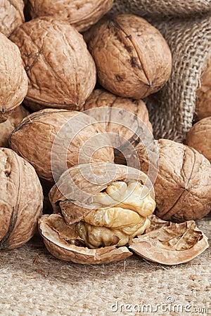 Walnuts on linen background