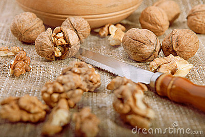 Walnuts on tablecloth