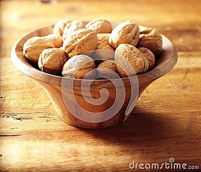 Walnuts in walnut bowl