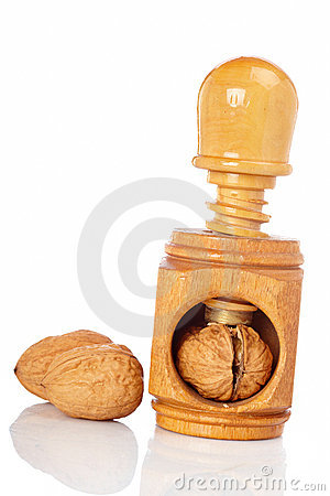 Walnuts and wood nutcracker