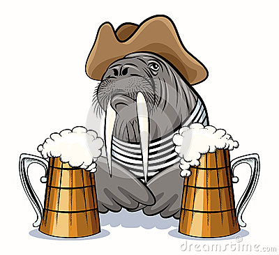 Free Walrus And Beer Royalty Free Stock Photos - 52288788