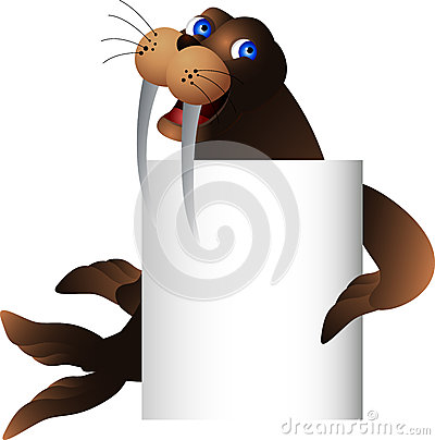 Walrus with blank sign