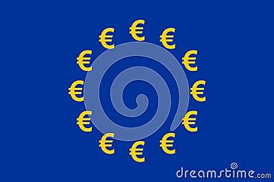 Waluty euro flaga