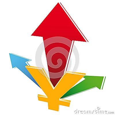 Waluty przyrosta ikona