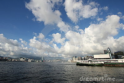 Wan Chai Ferry Pier and Victoria Harbor, Hong Kong Editorial Stock Photo