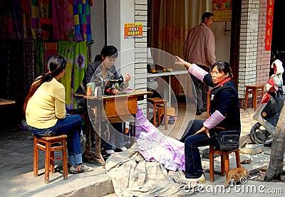 Wan Jia, China: Seamstress at Work Editorial Image