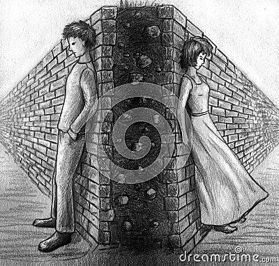 Wand zwischen Mann und Frau - Skizze