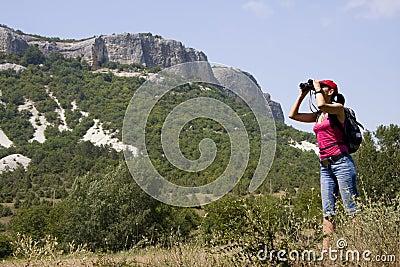 Wandelaar in de bergen