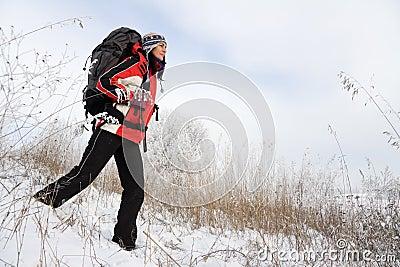 Wandelaar op de sneeuw