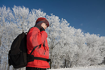 Wandelaar op snowh