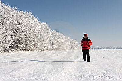 Wanderer auf dem Schnee