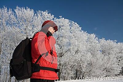 Wanderer auf dem snowh