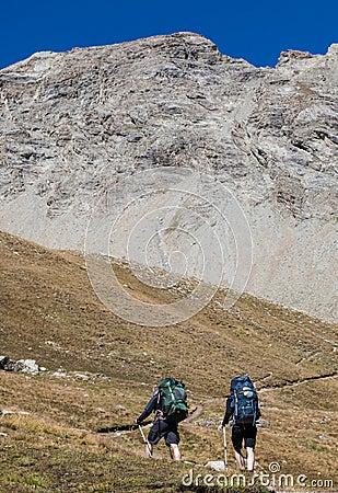 Wandern in den Alpen Redaktionelles Stockbild
