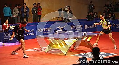 Wang Liqin (CHN) - Vladimir Samsonov (BLR) Editorial Stock Image