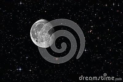 Royalty Free Stock Image: Waning gibbous moon among the stars