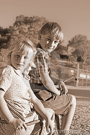 Free Want A Lift Young Boy And Girl Royalty Free Stock Image - 3983126