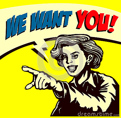 Free Want You! Retro Businesswoman Pointing Finger, We Re Hiring Sign Comic Book Style Illustration Stock Images - 66404184