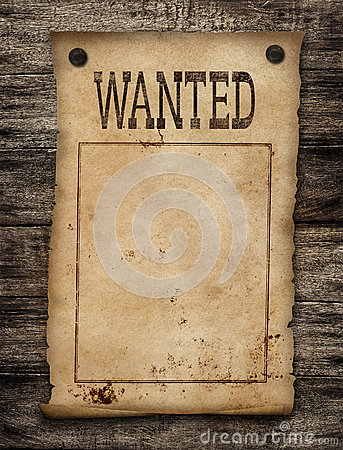 Wanted dead or live paper poster.