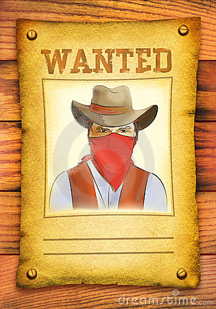 Wanted poster with bandit face in red mask