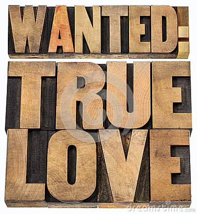 Wanted true love in wood type