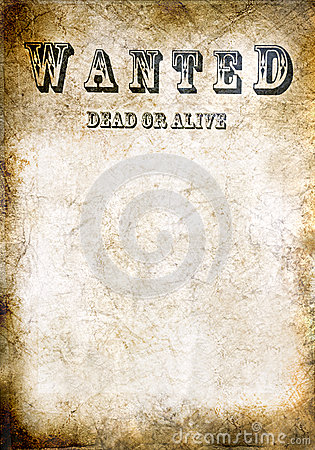 Free Wanted Vintage Poster, Dead Or Alive Stock Images - 35179114