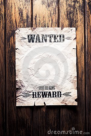 Wanted vintage poster with dramatic light