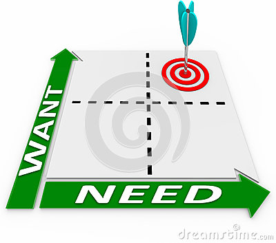 Wants Needs Matrix Choose Important Things Priorities