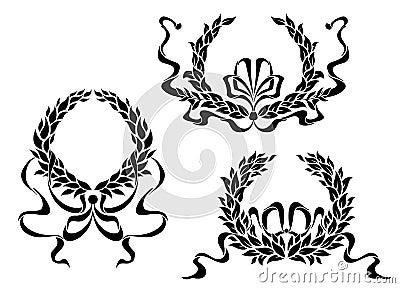 Wapenschild met laurierbladeren en linten