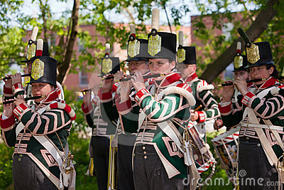 War of 1812 re-enactment of marching band Editorial Stock Photo