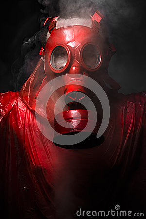 War concept, man with red gas mask.