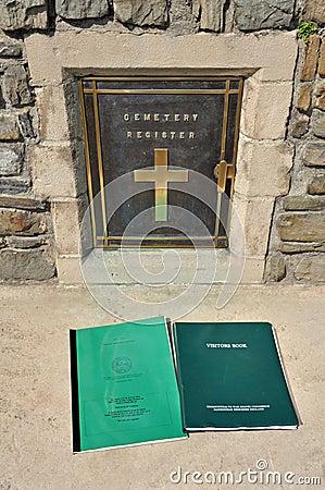War grave visitors book