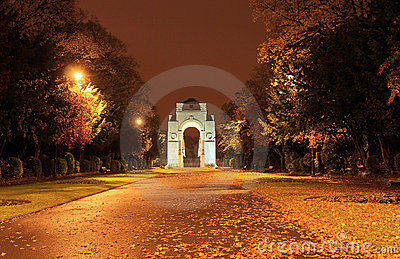 War Memorial approach at night with autumn leaves