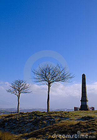 War Monument and Trees on Horizon at Dawn