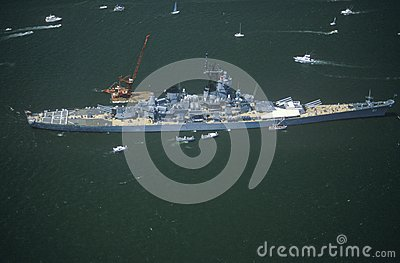 War Ship in New York Harbor Editorial Photography