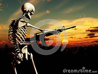 War Skeleton With Background 4